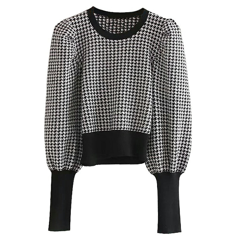 HOUNDSTOOTH PUFF SLEEVE SWEATER
