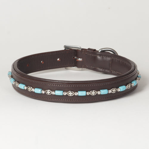 Large Beaded Rhinestone Leather Dog Collar