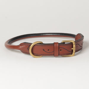 Large Rolled Leather Dog Collar