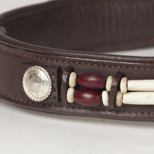 Large Beaded Leather Dog Collar