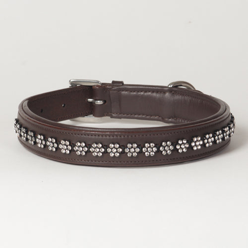 Large Rhinestone Leather Dog Collar Swarovski