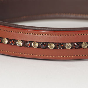 Large Rhinestone Leather Dog Collar