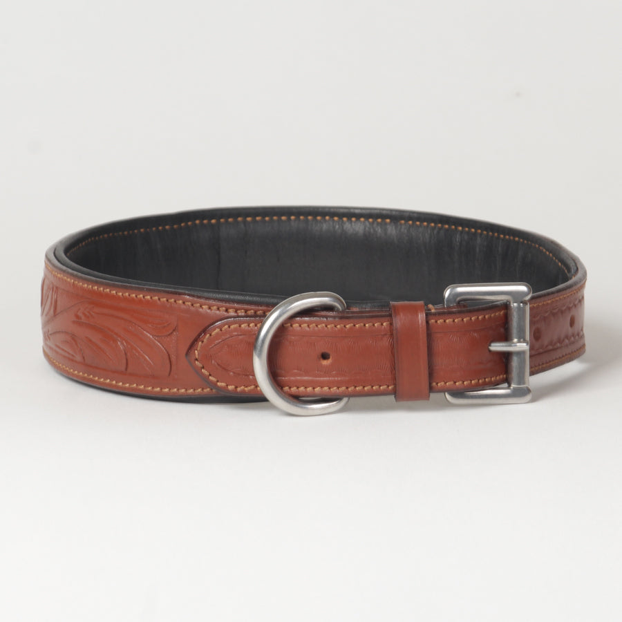 Large Hand Carved Leather Dog Collar