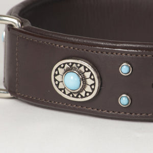 Large Decorated Genuine Leather Dog Collar