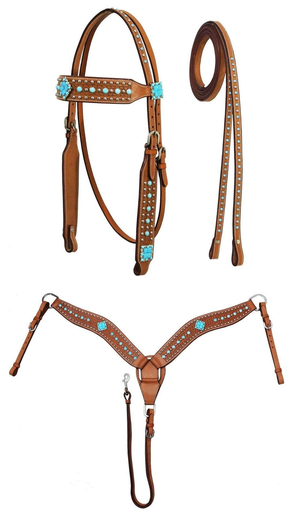 Turquoise Weastern Headstall, Breast Collar & Reins Set