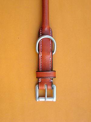 USA Leather Quality Rolled Leather Dog Collars - All Sizes available - SIE