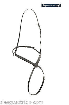 SIE Empty channel Figure 8 / grackle leather noseband - Full Black 8 mm fur pad