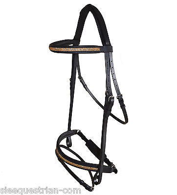 Black Leather Premium Bridle Triple Layer Gold Crystals - Cob, Full, OS HV BK BR