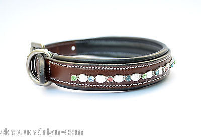 Silver Leaf Chain Studded Padded USA Leather Dog Collars/ Pet Collar