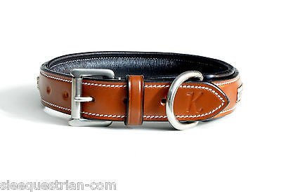 Three row crystal chestnut leather dog collar USA Leather 20''