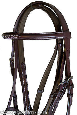 English Leather Havana  Dark Oil Bridle Facy stitch model