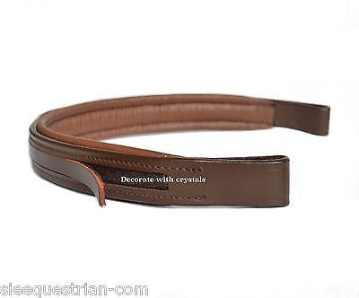 Lot of 8 Empty Channel Brown Leather Browbands for Bridles, Full - 8mm