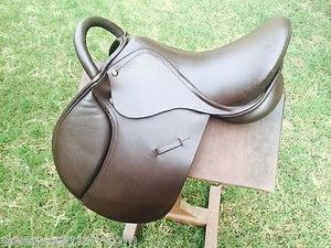14'' Medium Jumping English Saddle with Handle - Brown