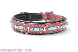Turquoise Beads Pink Leather Padded Dog Collar USA Leather