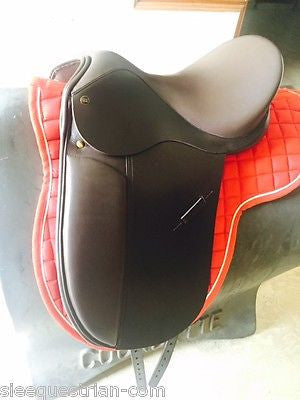 Dressage brown leather saddle 17'' Wide with saddle pad