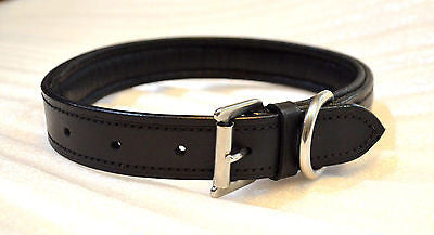 SIE Leather Empty channel dog collars black brown padded collar 8 mm