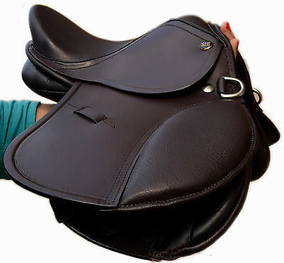 English Jumping Leather Horse Pony Saddle 10'' and 12'' for Kids