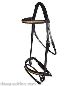 SIE Leather Gold Crystal Crank Bridle w Flash - all sizes