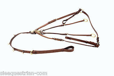 SIE Leather Running Martingale with breastplate - all size and colors in brass