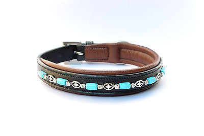 "16"" Turquoise Beads Padded Leather Dog Collars Made in USA Leather  - All Sizes"