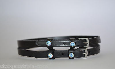 SIE English Leather Spur Straps - Blue Crystals