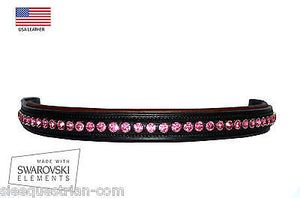 Straight Shape Pink Crystal Padded Leather Browband for Horse 15.5''