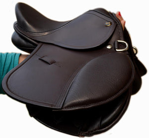 "English Jumping LEATHER SADDLE for KIDS- 10"" /12"" Matching Leathers"