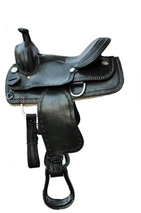 USA Leather All Purpose Western Bad 2 Bone Horse Show Saddle 14''