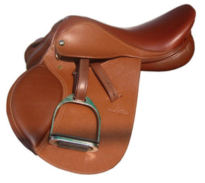Laffitte Series SIE English Close Contact Leather Saddle w Leathers & Stirrups
