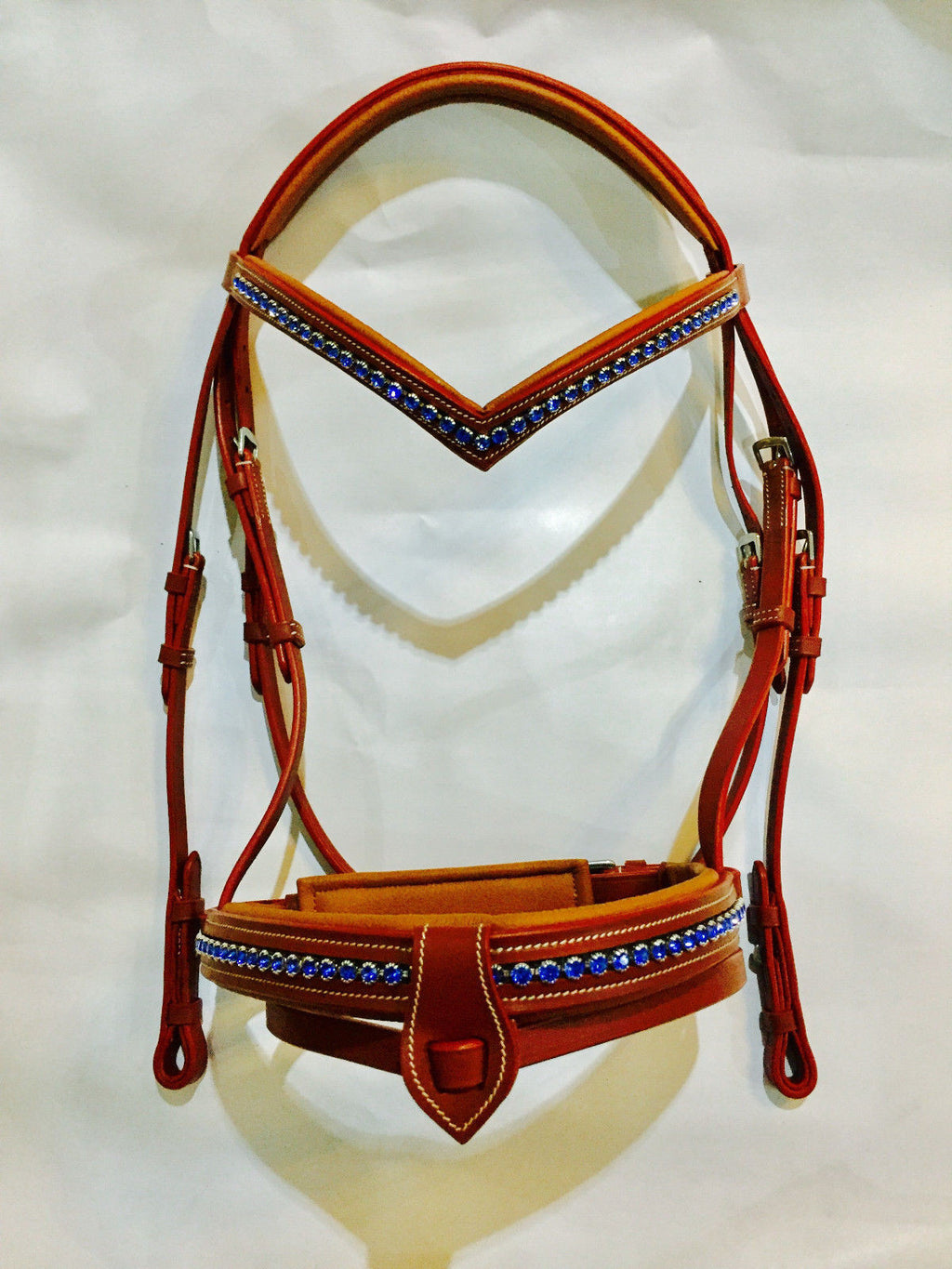 New SIE Full Horse Size Chestnut Padded Show & Fancy Bridle - Blue swarovski