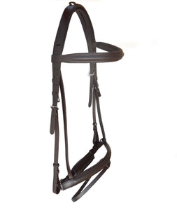 Havana Raised Dressage Designer Crown Crank Bridle with leather stopper reins