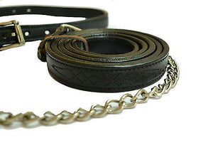 USA Leather Fancy Stitch Cattle Halter with Brass Chain Lead