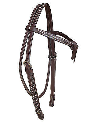 USA Leather horse Headstall, Knotted, decorated with Spots