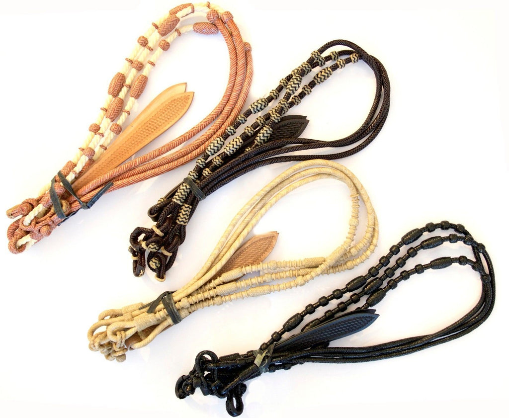 Set of 4 Braided Raw Hide Romel Reins