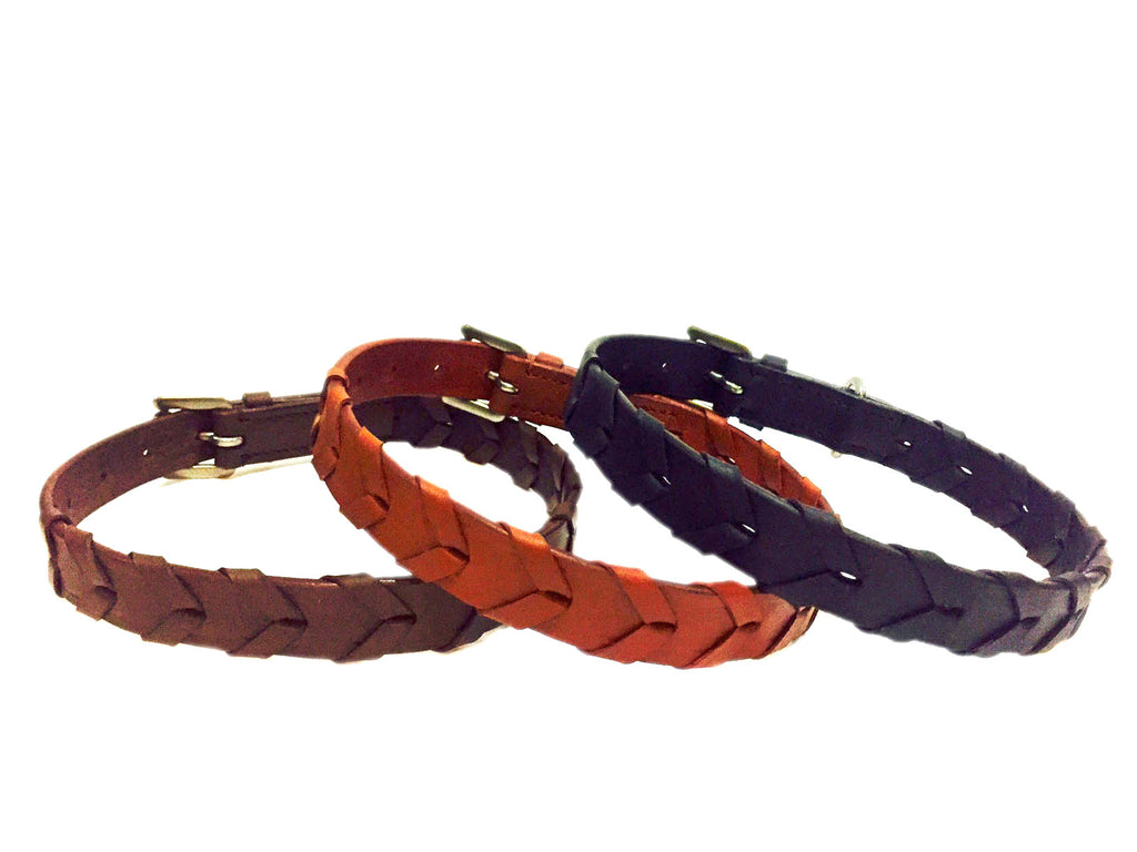 Braided Leather Dog Collars