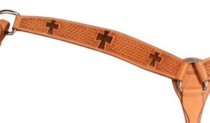 Basket Tooled Cross Inlaid Breast Collar