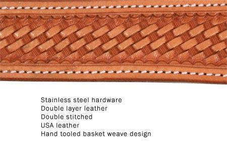 Basket Weave Tooled Leather Breast Collar