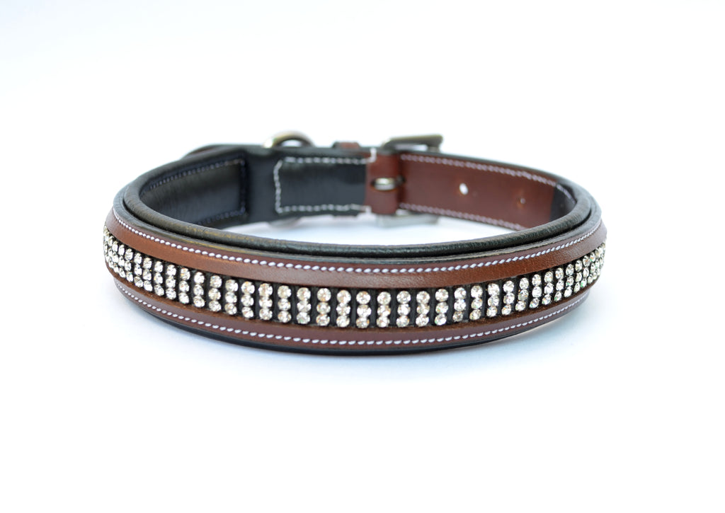 3 Row Crystal Padded Leather Dog Collar