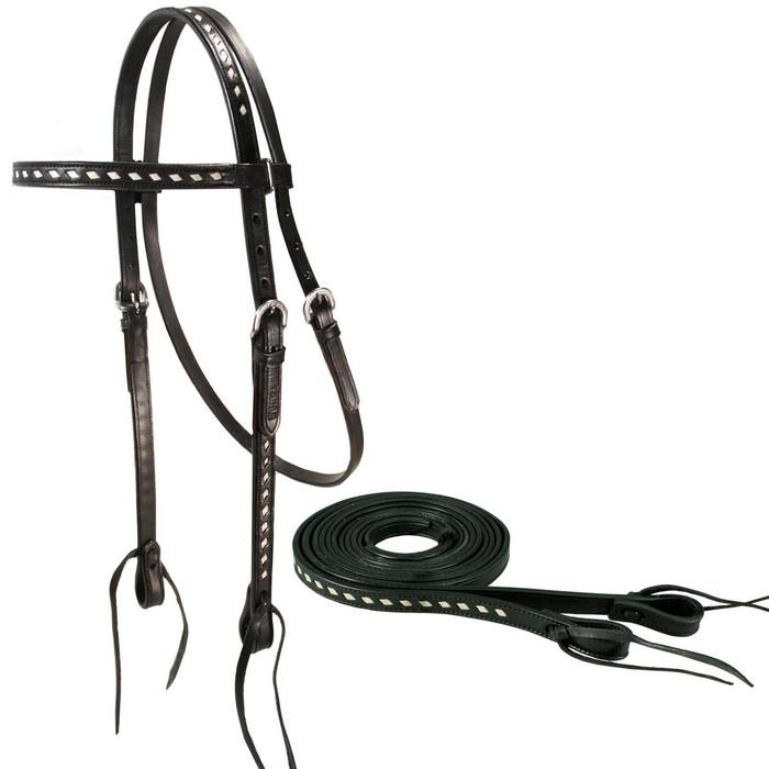 Buckstitch Leather Headstall with Reins