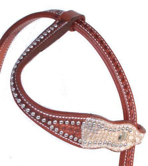 Cobra Print Slip One Ear Leather Headstall