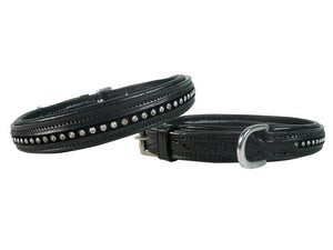 Crystal Padded Dog Collar USA Leather
