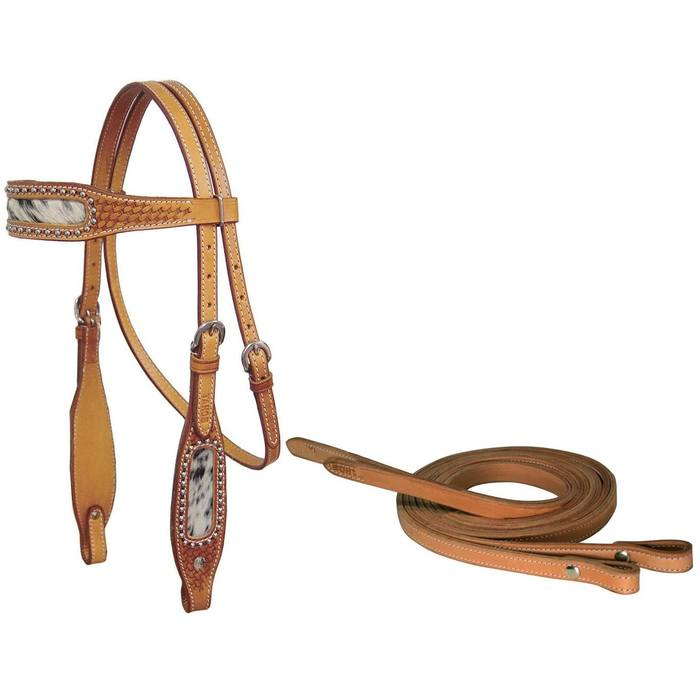 Cowhair Inlaid Western Headstall with Reins