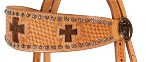 Cross Harin On Sun Spot Leather Horse Headstall