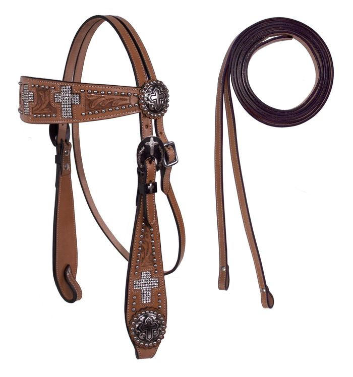 Crystal Cross Leather Headstall / Headstalls