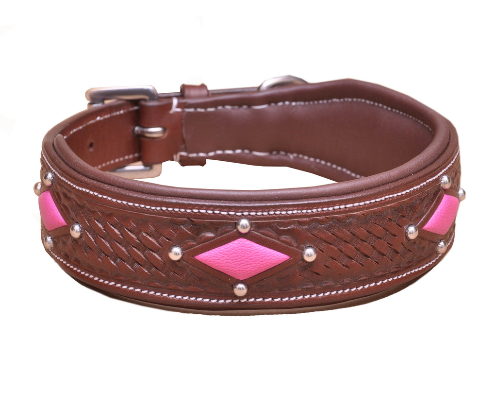 Carved Diamond Padded Leather Dog Collar