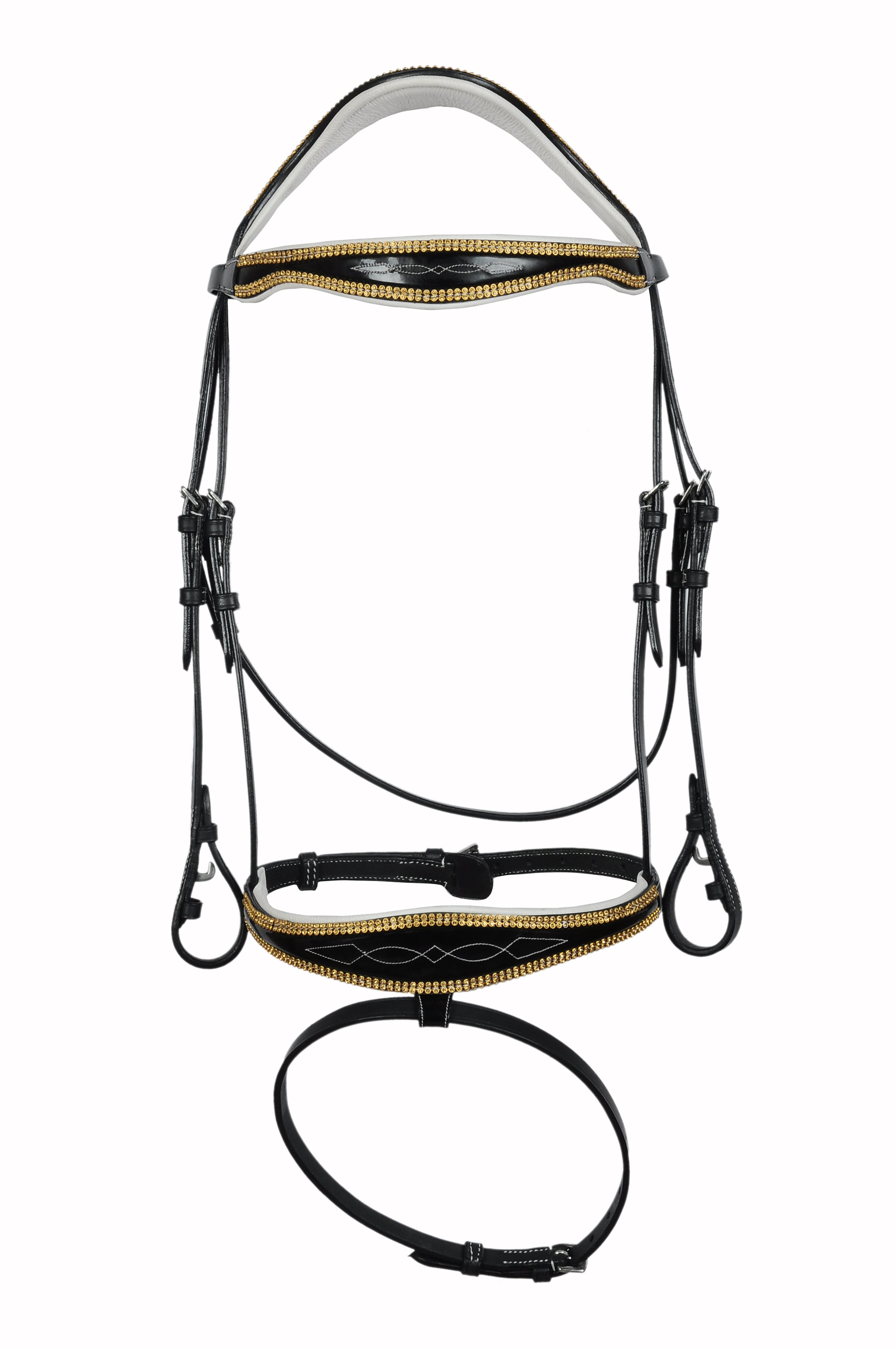 Unique Gold Sequinned Fancy Stitched Leather Bridle