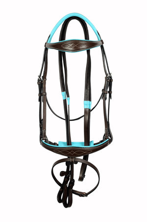 Teal Padded Fancy Stitch Anatomic Classic Leather Show Bridle