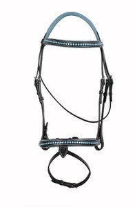 Blue Crystals Single Row Leather Show Bridle