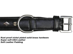Designer Spikes & Diamond Padded Dog Collar USA Leather