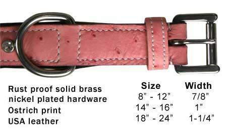 Designer Ostrich Print Padded Dog Collar With Swarovski Crystals - USA LEATHER